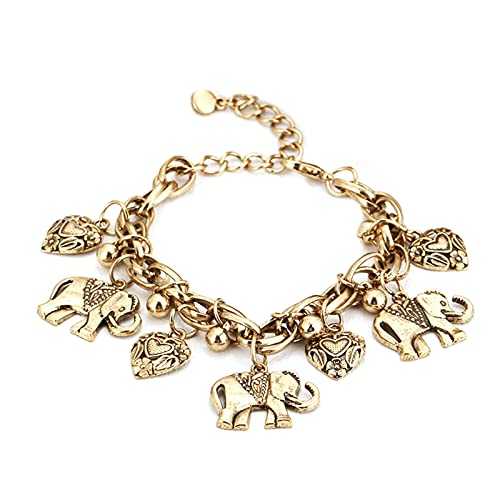 Tobillera vintage con elefante y corazón, hecha a mano, colgante de pie, joyas de playa, pulseras anchas para mujeres y niñas