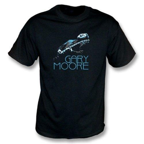TshirtGrill El Medio de la Camiseta de Gary Moore Photo, colorea Negro