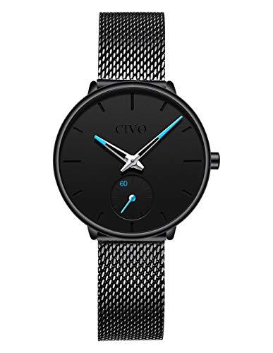 CIVO Relojes para Mujer Reloj Damas de Malla Impermeable Minimalista Elegante Banda de Acero Inoxidable Relojes de Pulsera Mujers Moda Vestir Casual Negocio Reloj de Cuarzo (Negro)