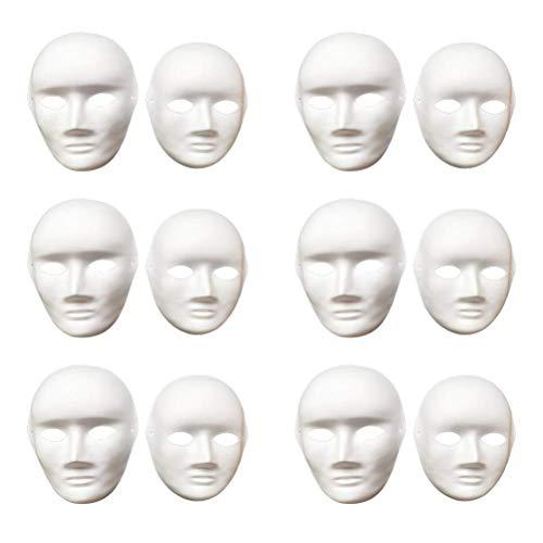 12 máscaras de color blanco para hacer tú mismo, máscara de Halloween, color blanco, máscara de papel de cara completa para ópera, de Vankcp, blanco, .