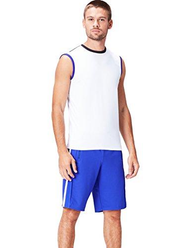 Activewear Camiseta Técnica sin Mangas para Hombre, Blanco (White/Black/Cobalt), Large
