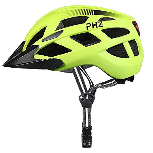 PHZ Bicycle Helmet Adjustable Ultra Lightweight with Safety LED Rear Light/Detachable Visor CE Safety Cycle Helmet Suitable for Cycling Adult/Men/Women/Youth