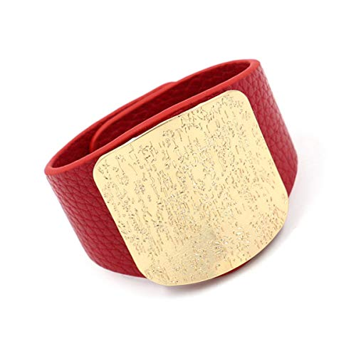 Armreif mit Kette, Hot Sale New Fashion Jewelry High Quality Punk Modern Style Alternative Metal Charm Wrap Leather Bracelets For Women red