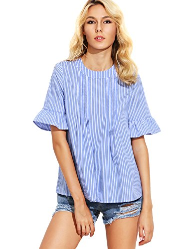 ROMWE Women's Cute Blouse Short Sleeve Summer Tunic Top Blue M