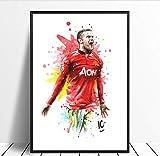 yhnjikl Wayne Rooney Fußballstar Poster Original Aquarell