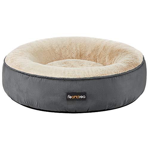 FEANDREA Hondenbed, kattenbed, donut, Ø 50 cm, donkergrijs PGW050G02
