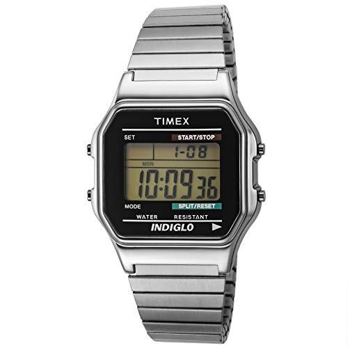 Timex T78587PF - Reloj Digital de Cuarzo para Hombres, Correa de Acero Inoxidable, Color Plateado