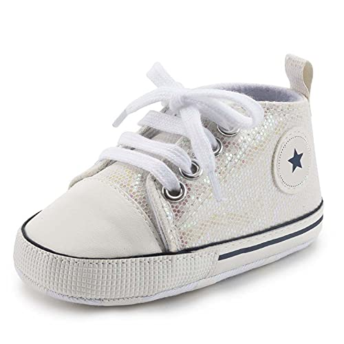 Baby Shoes Boy Girl Star Solid Sneaker Cotton Soft Anti-Slip Sole Newborn Infant First Walkers Toddler Casual Canvas Crib Shoes Comfortable (Baby Age : 13-18 Months, Color : Flash White)