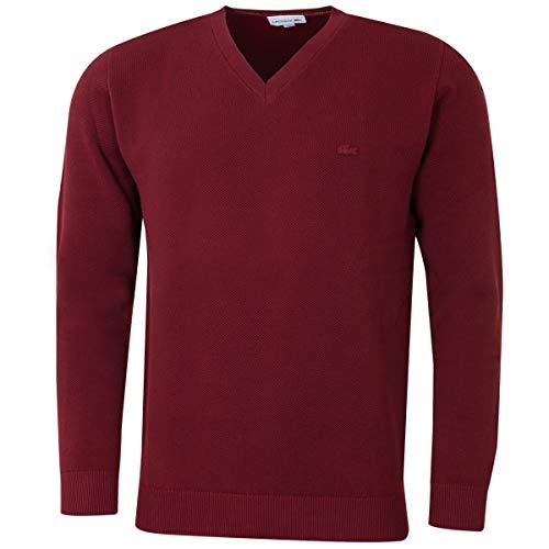 Lacoste Herren Klassische V-Ausschnitt Pique Sweater - Wine - M