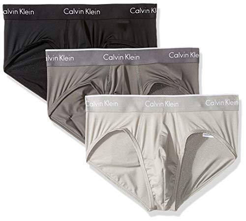 Calvin Klein Men's Underwear Micro Plus 3 Pack Hip Briefs, Black/Grey Sky/Grey Heather, S Calvin Klein Hip Brief