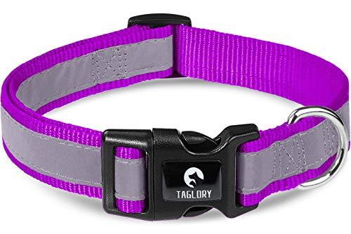 Taglory Collar Perro Reflectante, para Perros Grandes, Collar Ajustable y Suave para Caminar Correr, Morado