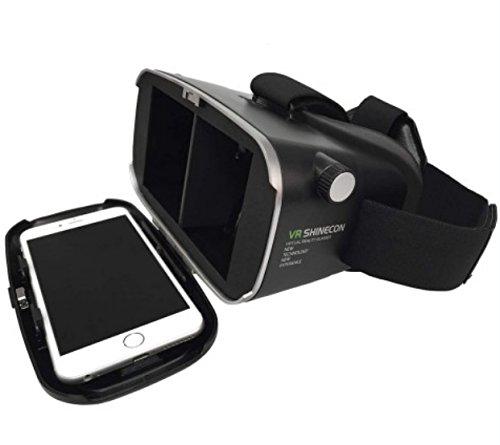 VR Shinecon 3D VR Virtual Reality Headset 3D VR Brille für 3D Filme und Spiele / Kompatibel mit Smartphones von 4 bis 6 Zoll / Apple iPhone / Samsung Galaxy / S6 S7 Edge Plus inkl. deutschsprachiger Bedienungsanleitung