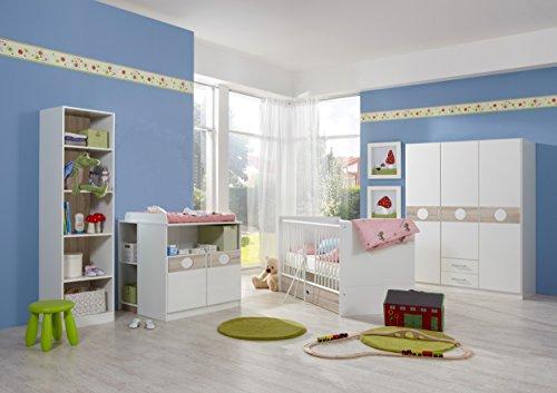 moebel-guenstig24.de Babyzimmer-Set KIMBA 6tlg Komplett Bett Wickelkommode gr. Schrank Regal Eiche-Sägerau