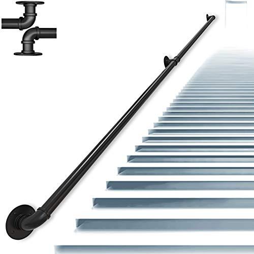 ZCFXGHH Pasamanos Baranda de Escalera de Tubo de Hierro Forjado de Estilo Industrial, Baranda de Escalera Antideslizante para Interiores y Exteriores de,Tamaño Personalizable |,Negro,6ft/180cm