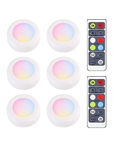 Onder kabinet Keukenverlichting,Draadloze LED-pucklichten Met afstandsbediening voor keukenkast Counter Wall Indoor, 6-pack, dimbare batterij-aangedreven sfeer Nachtlampje