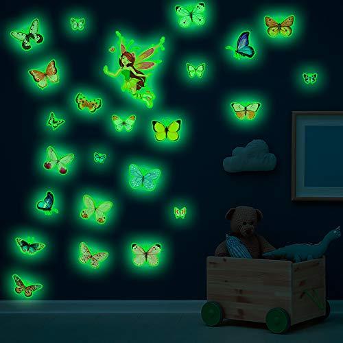 RAILONCH Bright Colour Butterfly Flower Fairy Fluorescent Stickers Children's Room Self-Adhesive Luminous Wall Sticker