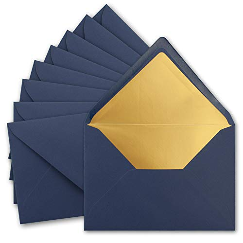 10x metallic Gold-gefütterte Brief-Umschläge DIN C5, dunkel-blau - 156 x 220 mm - Nassklebung mit spitzer Klappe - FarbenFroh by Gustav NEUSER®