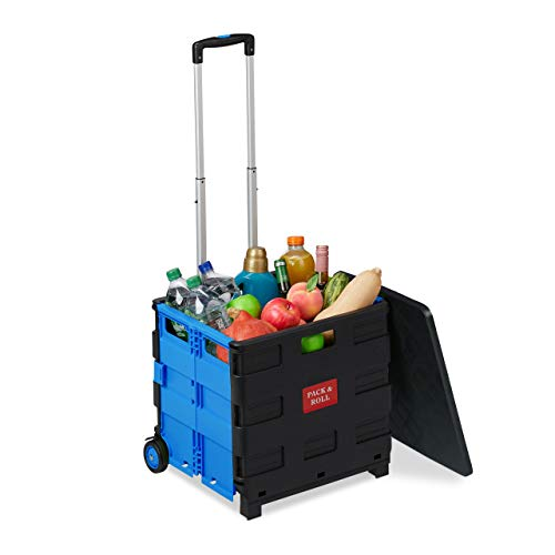 Relaxdays Einkaufstrolley klappbar, bis 35 kg, 50 l Kiste, mit Teleskopgriff, 2 Rollen, Transport Trolley, blau/schwarz