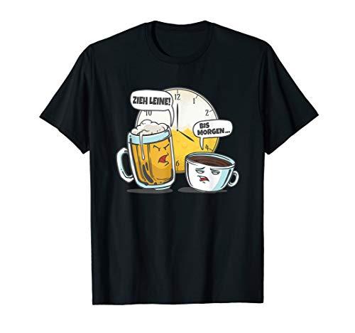 Bier gegen Kaffee um 4 Uhr Lustiges Coffee & Beer Motiv T-Shirt