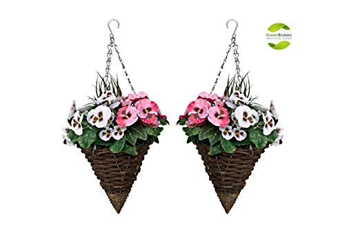 2 x Artificial Cone Shaped Hanging Baskets with Pink & White Flowers and Decorative Grasses (Set of...