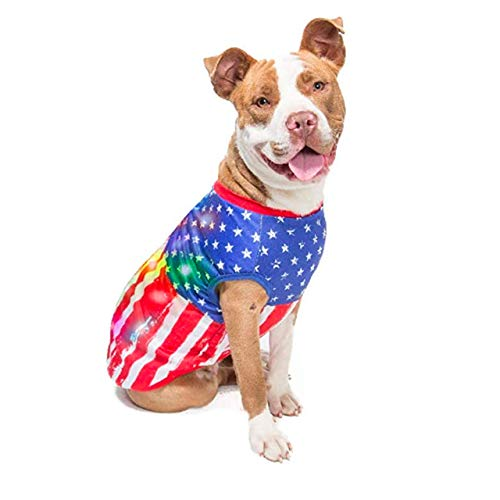 American Flag Halloween Dog Costume with Blinking Lights | Light-up Large Dog Costume for X-Large Dogs (and Small, Medium dogs) | USA Flag Dog Clothe | Patriotic Dog Shirts with LED Lights | Size XL
