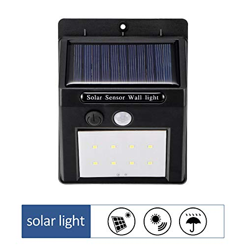 Konesky Solar wandlampen, outdoor bewegingssensor, lamp PIR LED veiligheidslamp, waterdicht, padverlichting voor tuin, erf, hek, veranda, terras, oprit en trappen