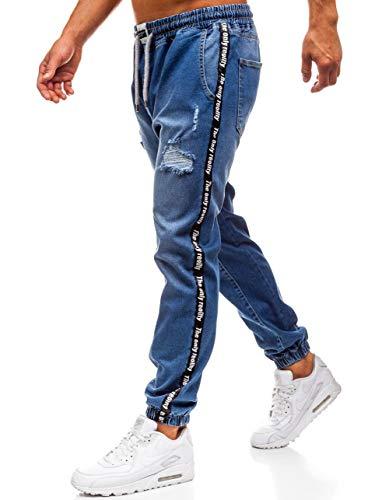 BOLF Hombre Pantalón Vaquero Baggy Denim Rotos Clubwear Estilo Deportivo Otantik 2045 Azul M [6F6]