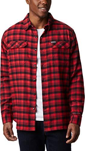 Columbia Flare Gun, Camisa de pana para hombre, Rojo (Red Jasper Grid Plaid), S