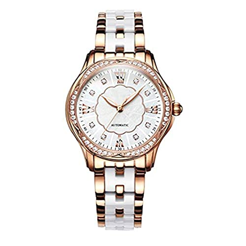 SADWF Reloj de Pulsera para Mujer, Moda Informal, Resistente Al Agua, Oro Rosa, Banda de Acero Inoxidable, Relojes Automáticos, Regalos para Mujer (Color : A)