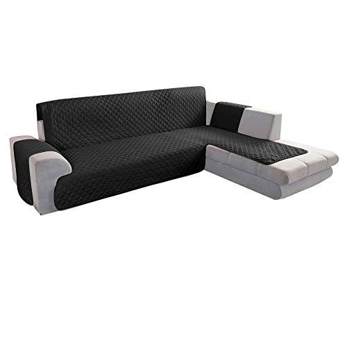 JTWEB Copridivano con Penisola Impermeabile con Reversibile,Chaise Longue Sofa Cover Trapuntato Angolare, A Forma di L,Adatto ai Copridivano della Penisola Sinistra O Destra (Nero, 240 x 270 cm)