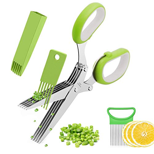 RAXMIN Vegetable Chopper Set Herb Scissors with 5 Blades and Onion Holder Best Kitchen Gifts