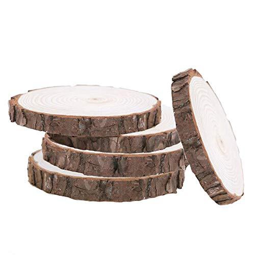 Rodajas de madera natural, con discos de tronco de corteza de árbol, para manualidades, centros de mesa rústicos,5 unidades de disco de madera de tilo Woodlandia de 7 a 7.8 pulgadas