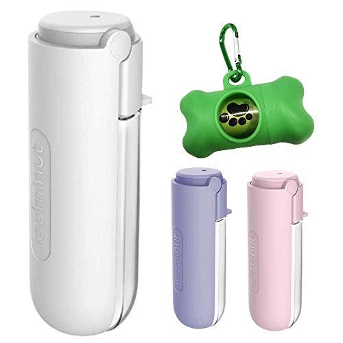 Johiux 450 ml Hunde-Wasserflasche, hundetrinkflasche für unterwegs, antibakteriell lebensmittelecht, Hundekotbeutel, hundezubehör und Karabiner(Weiß)