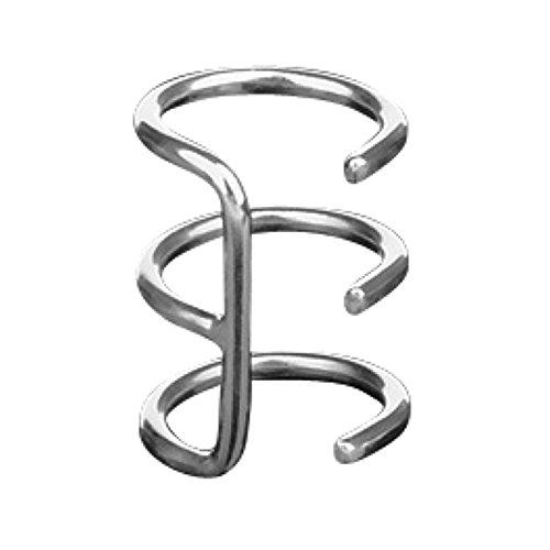 Piercingfaktor Fake Helix Piercing Ear Cuff Triple Ohr Clip On Ring Ohrklemme Ohrring zum Klemmen Ohrmanschette Silber