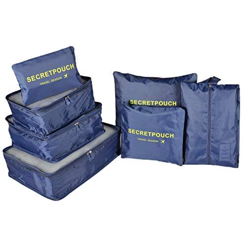 Maomaoyu Kleidertaschen Set Koffer-Organizer Packtaschen Packwürfel Reisetasche Schuhbeutel Wäschebeutel Reisegepäck Kleidertaschen Ideal für Reise Ultra-leicht wasserdichte (Marine)