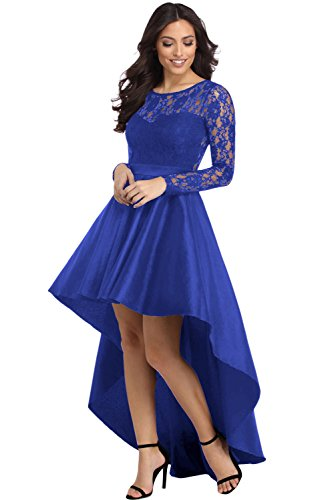 Elapsy Womens Sexy Long Sleeve Lace High Low Satin Prom Evening Party Wedding Dress Cocktail Gowns Blue X-Large (Apparel)