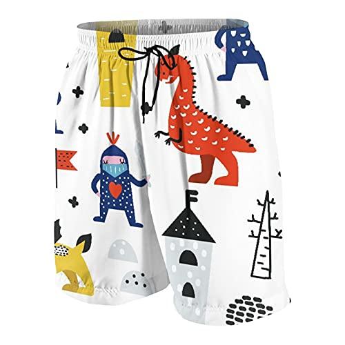 Alvaradod Trajes de baño Personalizados para Hombres,Dragones y Caballeros Dibujados a Mano,Ropa de Playa Trajes de baño Shorts de baño Trajes de baño S