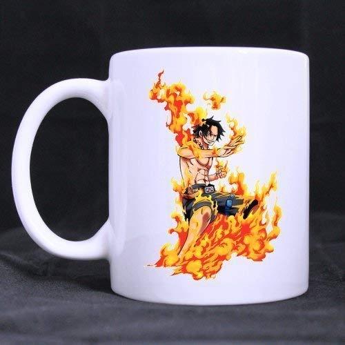 N\A Dibujos Animados japoneses One Piece Ace Diseño Personalizado Taza Blanca Taza de café Taza de Leche Creativa Taza de té Personalizada por BOLALA Taza Blanca