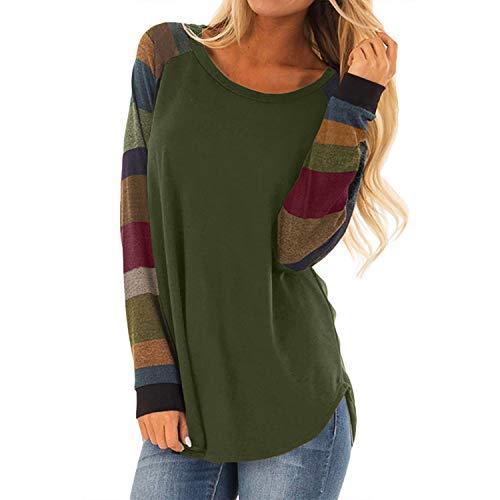 Jywmsc Damen Gestreifte Rundhals Langarm T-Shirt Baggy Tops Übergroße Sweatshirt Bluse Tunika