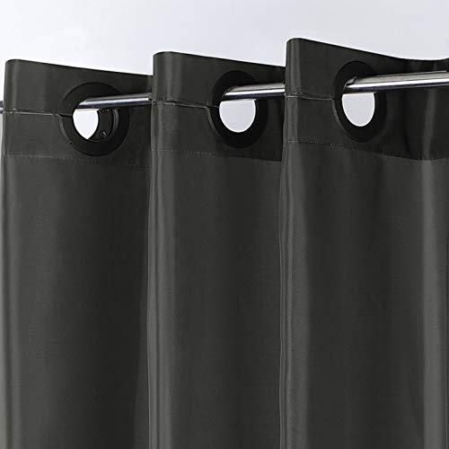Furlinic Duschvorhang 120 x 200, Schmale Textile Badvorhänge aus Stoff für Dusche & Badewanne, Wasserdicht Schimmelresistent & Waschbar, Dunkelgrau mit Groß Ösen.
