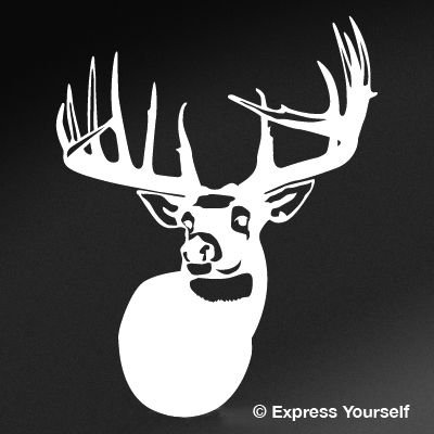 Express Yourself Products The Legend Whitetail Deer (White - Reverse Image - Mini-Set of 10-1.5x1.5 in.-Outline only) Decal Sticker - Big Game Collection - Deer
