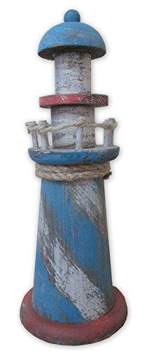 Deko Leuchtturm 16429 aus Holz im Shabby-Look, Maritime Dekoration, 21 x 8 cm