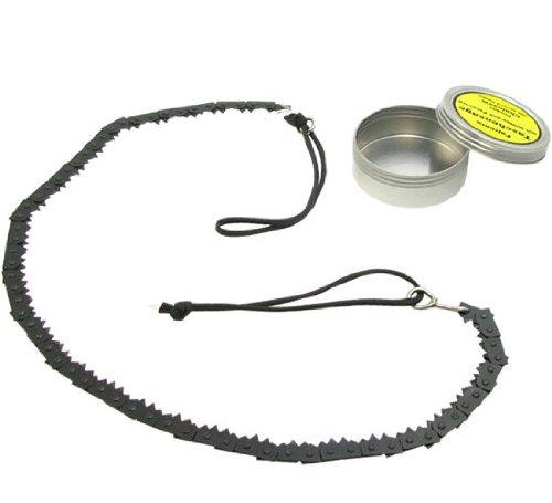 BE-X Survival Faltsäge aus Edelstahl, mit Paracordgriffen und Metalldose (75cm lang / 130g schwer)