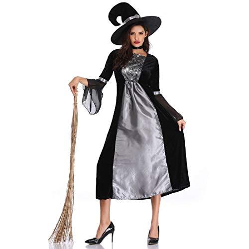Cosplay de Las Mujeres de Halloween Ropa Trajes, Traje de la Bruja de Halloween Juego de Roles El Mal Traje de la Bruja Cos Ropa de la Etapa Rendimiento (Size : 1XL)