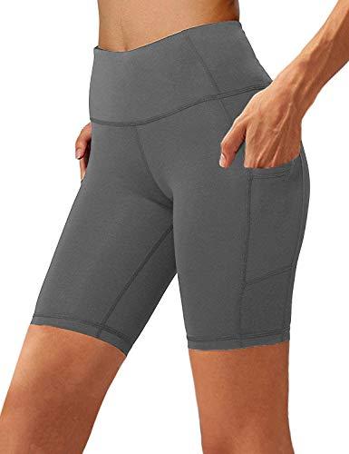 Aoliks Women's High Waist Yoga Short Side Pocket Workout Tummy Control Bike Shorts Running Exercise Spandex Leggings Grey