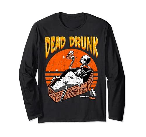 Dead Drunk Skeleton Sarg Bierliebhaber Halloween Disfraz Manga Larga