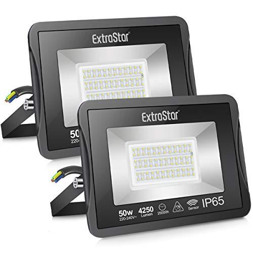 Extrastar Focos LED exterior con sensor de movimiento 50W luz fria [Clase de eficiencia energética A+]Pack 2 unidades (6500K,50W