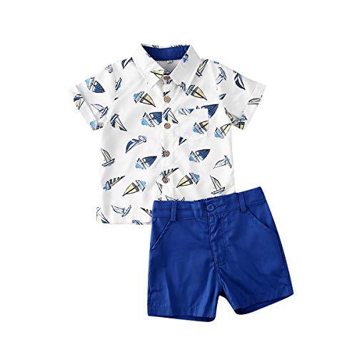 Conjunto de ropa de verano para niños pequeños y niñas, camisas y pantalones cortos, 2 piezas para caballeros - - 2-3 años