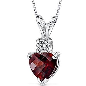 14 Karat White Gold Heart Shape 1.50 Carats Garnet Diamond Pendant