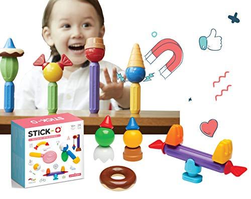 Stick-O Bloques de construcción magnéticos para niños Mayores de 1 año, Juguete de construcción Creativa, Juguete Educativo con imán, Juego de Roles, Juguete Montessori, Juego de 26 Piezas,